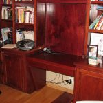 Maple desk and rolling ladder with additional shelving and maple back added-resize